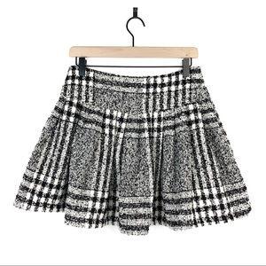 JOA Boucle Black White Plaid Pleated Flare Skirt